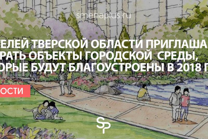 Жителей Тверской области приглашают выбрать объекты городской среды, которые будут благоустроены в 2018 году