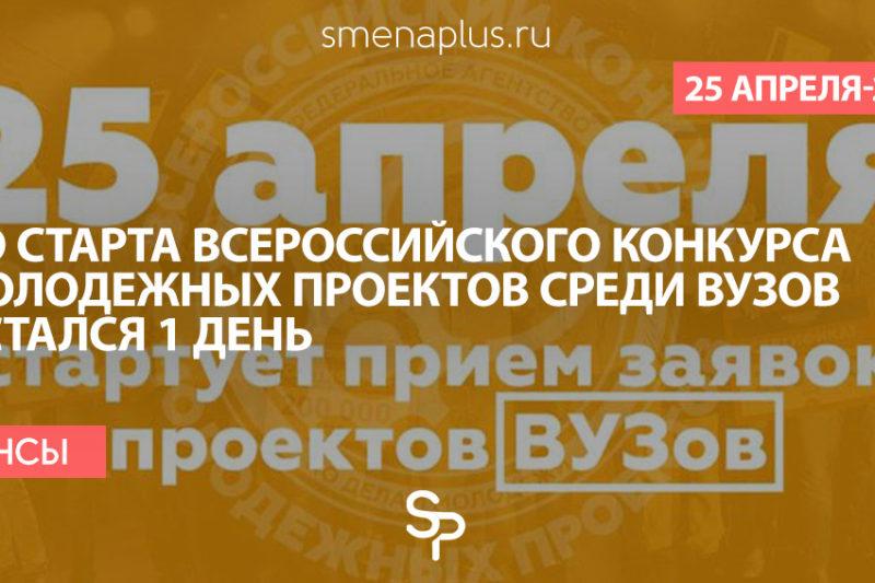 До старта Всероссийского конкурса молодежных проектов среди образовательных организаций высшего образования остался 1 день