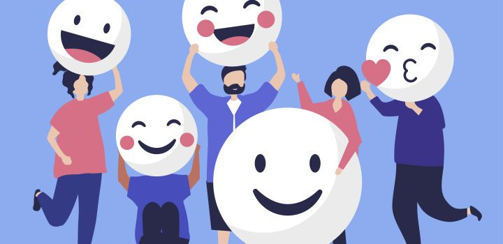 Characters of people holding positive emoticons illustration